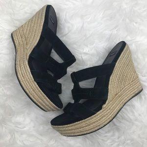UGG Tawnie Black Suede Wedge Sandals
